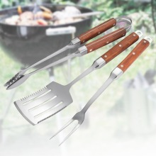 3PCS Wooden Handle Stainless Steel BBQ Tools Set