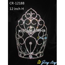 Hot Sale for Rhinestone Pageant Crowns 12 Inch Large Tiara Sweet Heart Pageant Crown supply to Germany Factory