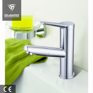 Single lever deck mounted basin mixer faucet