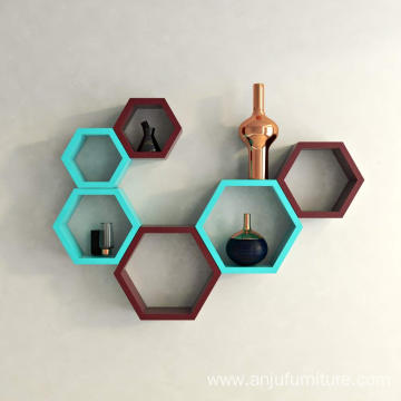 Wall Shelf Rack Set of 6 Hexagon Shape Storage Wall Shelves for Home - Sky Blue & Maroon