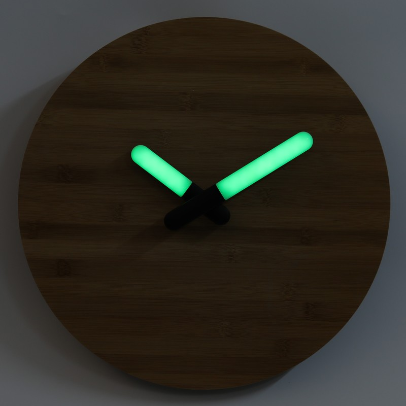 16 inch Wall Clock wooden with Green Light