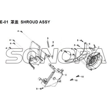 E-01 SHROUD ASSY XS150T-8 CROX For SYM  Spare Part  Top Quality