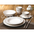 New bone china tableware set White and Platinum