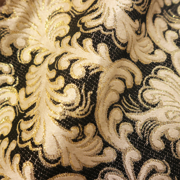 Wholesale Gold Ink Flower Jacquard Curtain Fabric