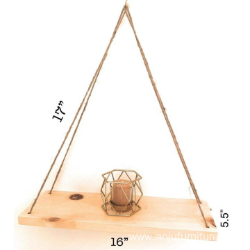 Natural Pine Wood Mountain Woodworks Hanging Rope Swing Shelf