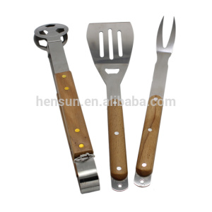 OEM Supply for wooden and bamboo handle tools set Details Wooden Handle 3pcs Stainless Steel BBQ Tools Set supply to South Korea Factories
