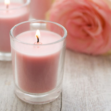 Transparent Glass Jar Silver Lid Rose Soy Candles
