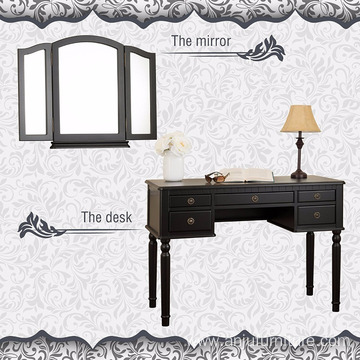 Black Wooden 5 drawers Makeup Modern Dressing Table Models With Mirror