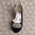 "Navy 3"" Heel Wedding Shoe Wedge Heel with Brooch"