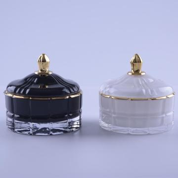 Luxury White Colored Glass Candy Jar