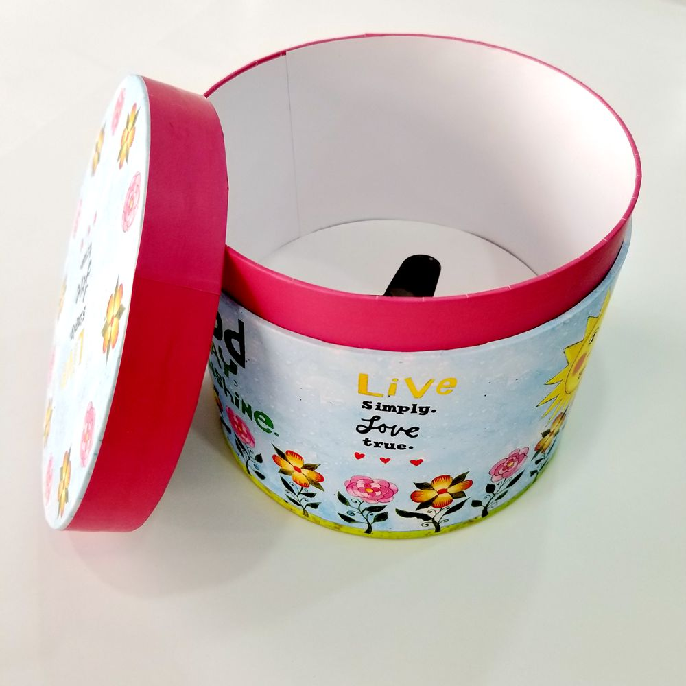 Custom high quality paper printed round gift box