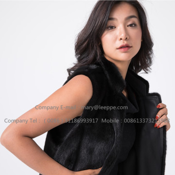 Women Black Fashionable Mink Vest