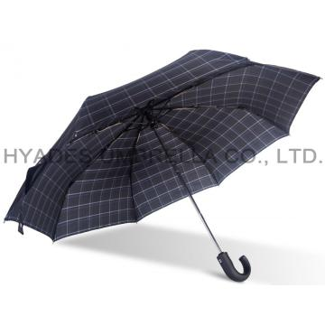 Windproof Check Print Mens Folding Umbrella