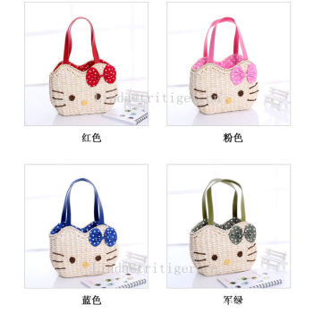 Eco-friendly Cute Hello Kitty Straw Weave Purse Handbag