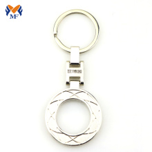 Custom logo hollow out round metal keychain