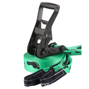 Slackline With Customized Ergo Ratchet Tie Down