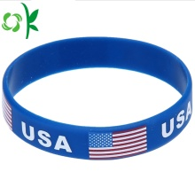 China for Custom Mens Bracelet USA Flag/Letter Embossed Custom Country Logo Silicone Bands export to Spain Suppliers