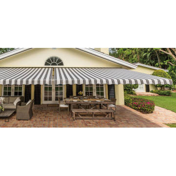 Retractable arms awning 3.6*2.5M Green/White Stripes