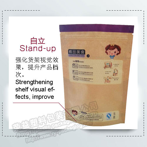 Kraft Paper Stand Up Food Pouch Zip Lock Reclosable Packaging Bags