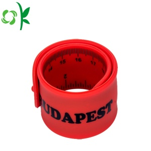 Red Slap Bracelet Silicone Printed Wriststrap with Ruler