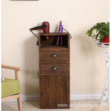 Best quality and factory for Vintage Wood Cabinet Wholesale cheap price brown wooden barber cabinet antique haircut console table supply to Indonesia Wholesale