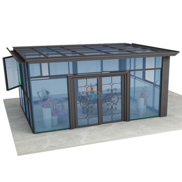 Polycarbonate Sunroom Kit Curved Glass Free Standing Sunroom