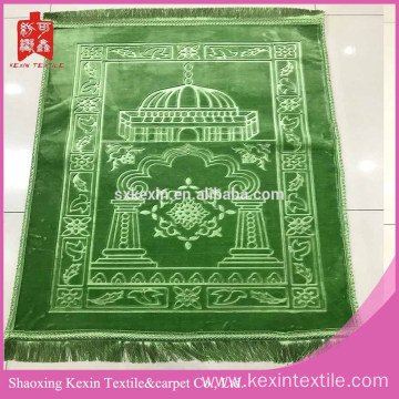100% polyester thick embossed mink muslim prayer carpet