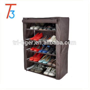 6 tiers fabric shoe rack free standing with cover