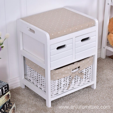 Shabby Chic 3 Drawer Wicker Storage Basket Cupboard Cabinet Unit Bench White