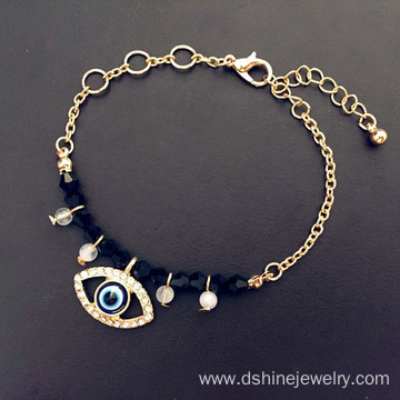 Chain Evil Eye Gold Bracelet Crystal Beads Pendant Bracelet