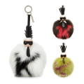 Real Leather Fox Fur Ball Keychain Word Pom Pendant For Bag