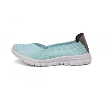 Powder Green Slightly Curved Head Design Woven Pumps