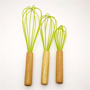 OEM manufacturer custom for Silicone Egg Whisk Silicone egg beater with wooden handle export to Indonesia Supplier