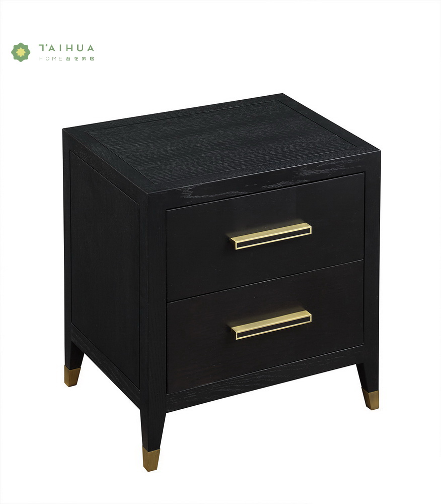 Square Wood Night Stands Black Wood