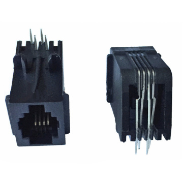 Modular Jack4P4C full Plastic with panel Flat pin