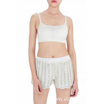 white sequin embroidered shorts