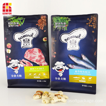 Flat Bottom Pouch With Front Zipper Dog food packaging