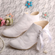 Wedopus White Wedding Boots for Bride