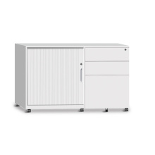 half height mobile tambour door storage cabinet pedestal