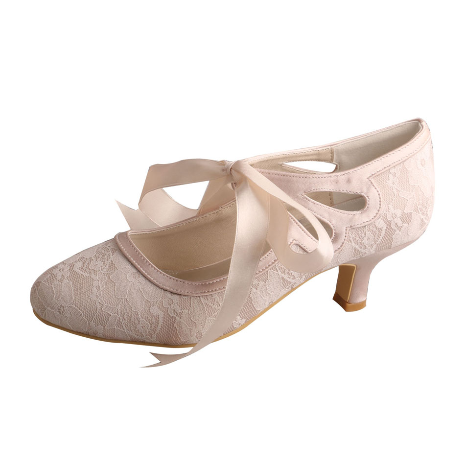 Low Heel Lace Bridal Shoes 7