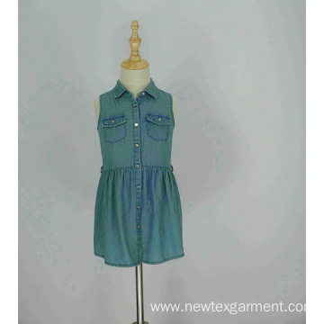 casual denim girls sleeveless shirt dress