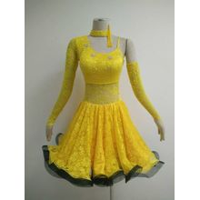Hot sale for Latin Dress Patterns Yellow latin dancesport costume export to Belgium Importers