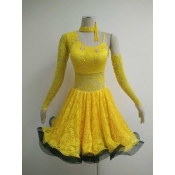 Yellow latin dancesport costume