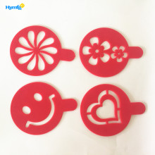 4pcs Plastic Cappuccino Coffee Stencil Set