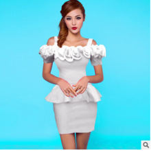 Summer New Europe sling bag hip strapless dress sexy dress club