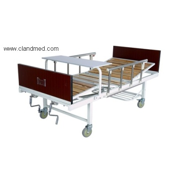 Triple-folding bed with wood bedhead