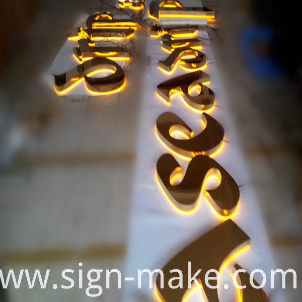 gold halo lit letters