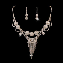 Women Rhinestone Necklace Eardop Jewelry Sets