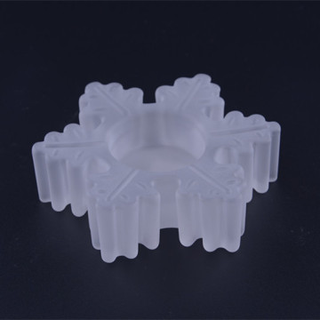 Glass White Frosted Snowflake Tealight