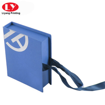 Book shape magnetic box ribbon closure